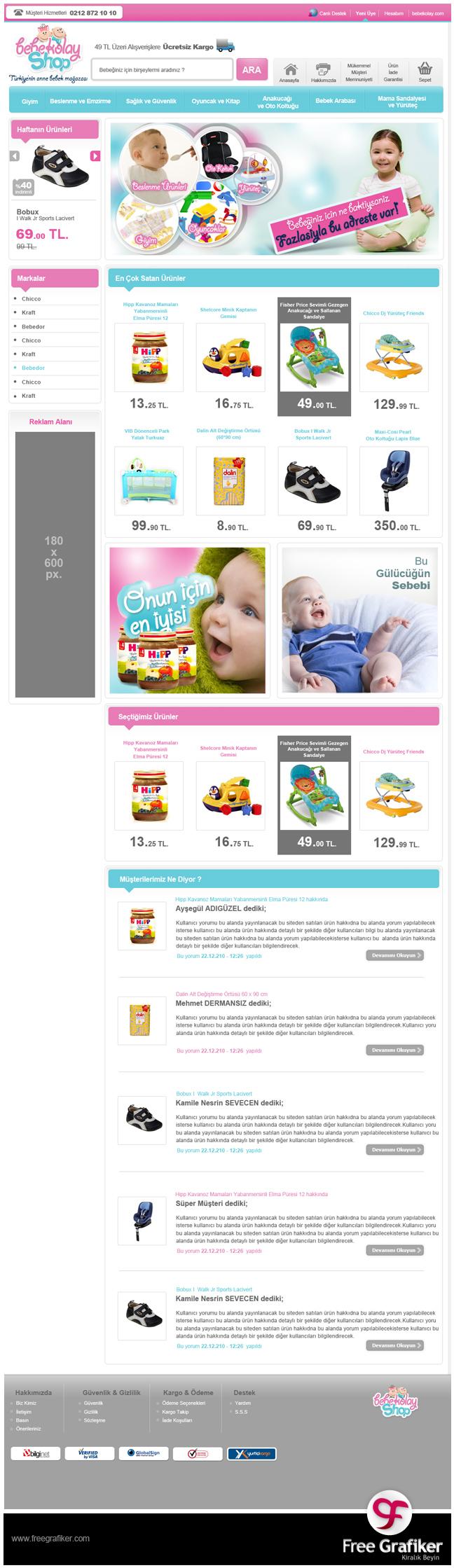 Bebekolayshop e ticaret sitesi tasarımı - anasayfa