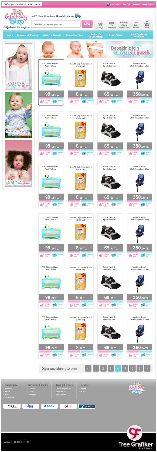 Bebekolayshop e ticaret sitesi tasarımı - kategori