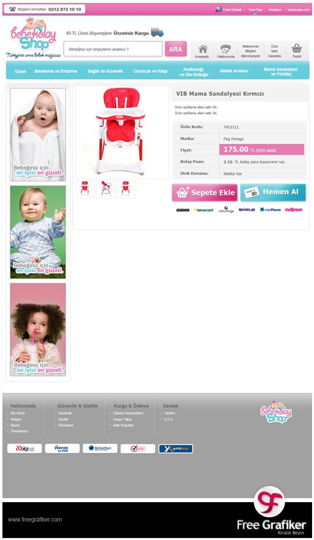 Bebekolayshop e ticaret sitesi tasarımı - sipariş