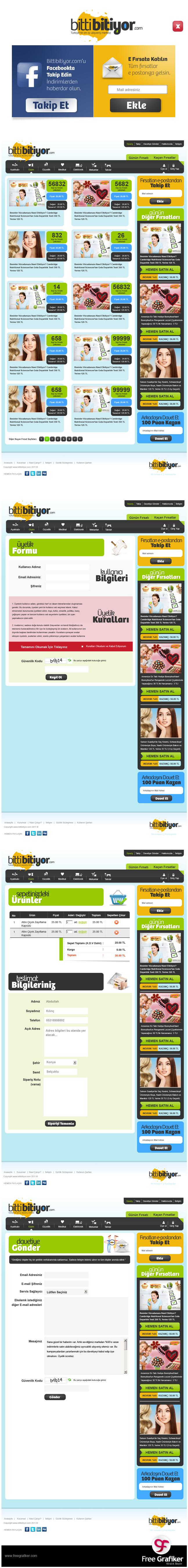 Bittibitiyor.com Fırsat Sitesi Alt Sayfa Tasarımları