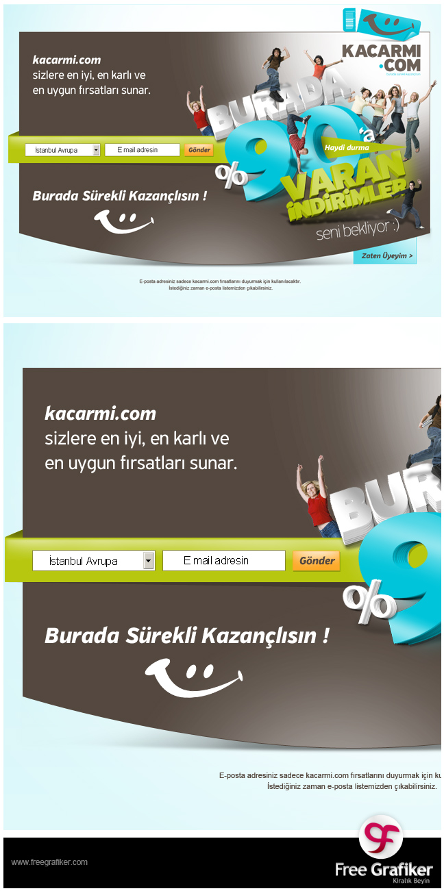 kacarmi-com fırsat sitesi tasarımı splash banner