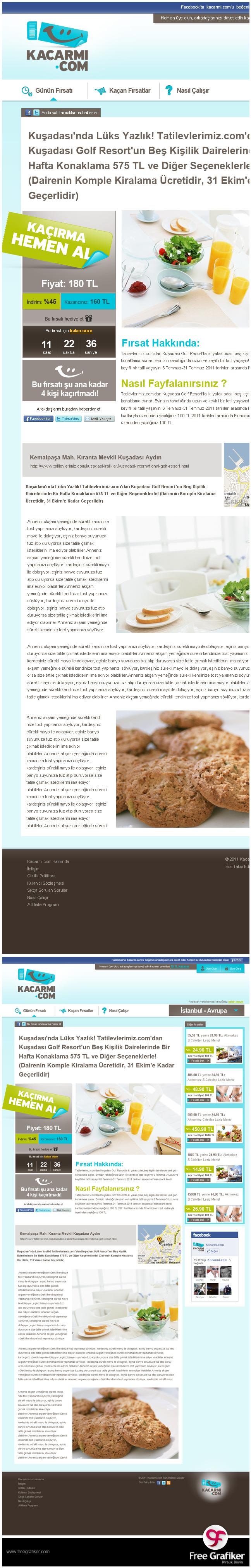 Kacarmi.com fırsat sitesi tasarımı