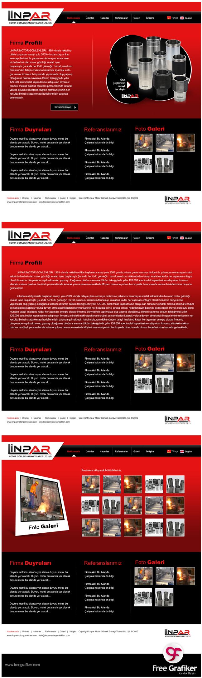 Linpar Motor Gömlekleri Web Arayüz Tasarımı