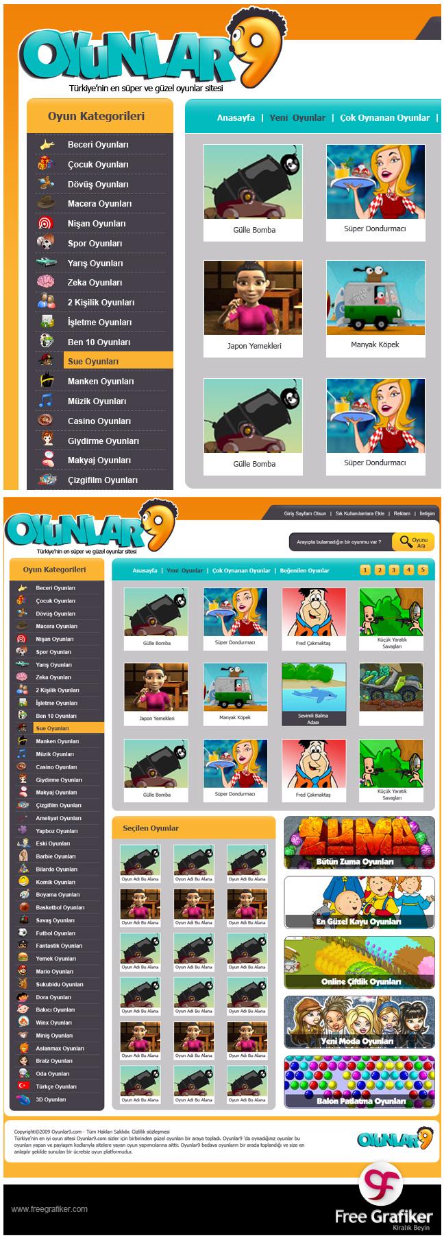 Oyunlar9 oyun sitesi tasarımı