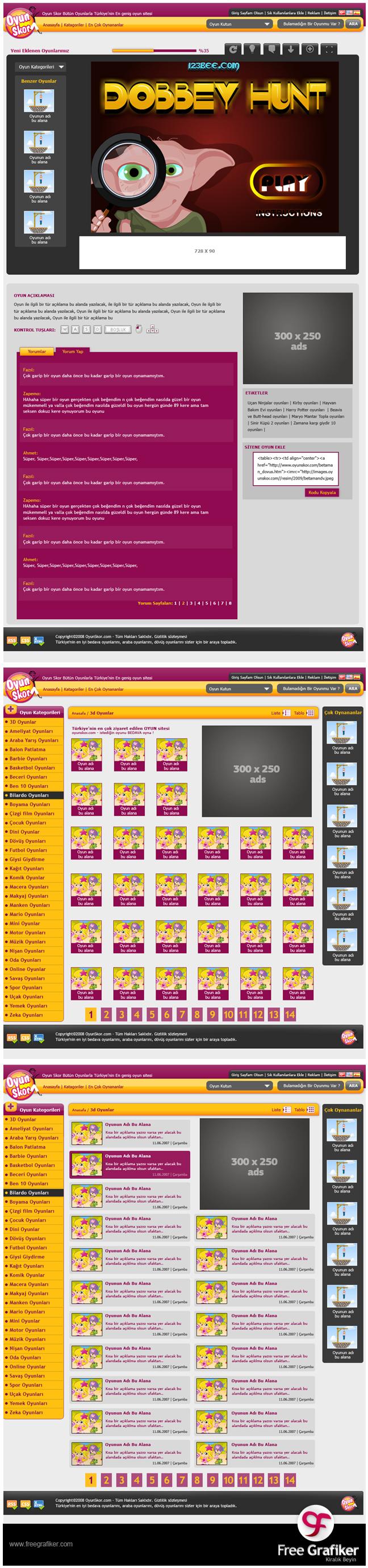 Oyunskor web arayüz tasarımı