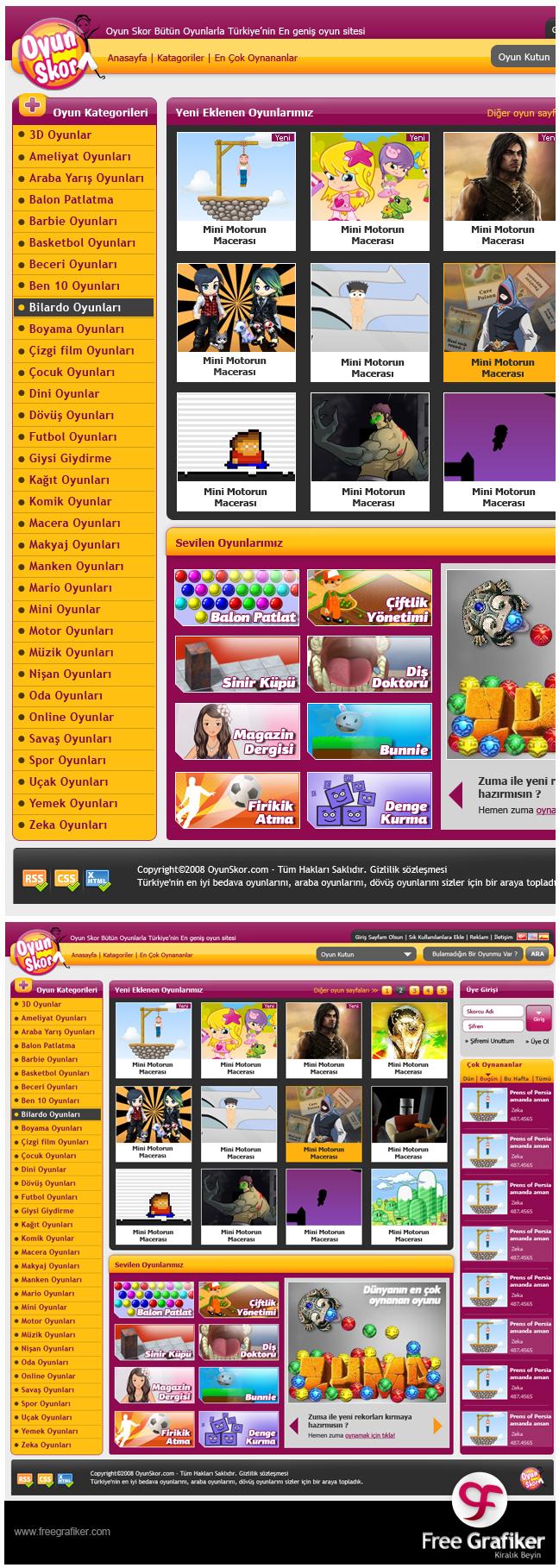 Oyunskor.com Web Sitesi Tasarımı