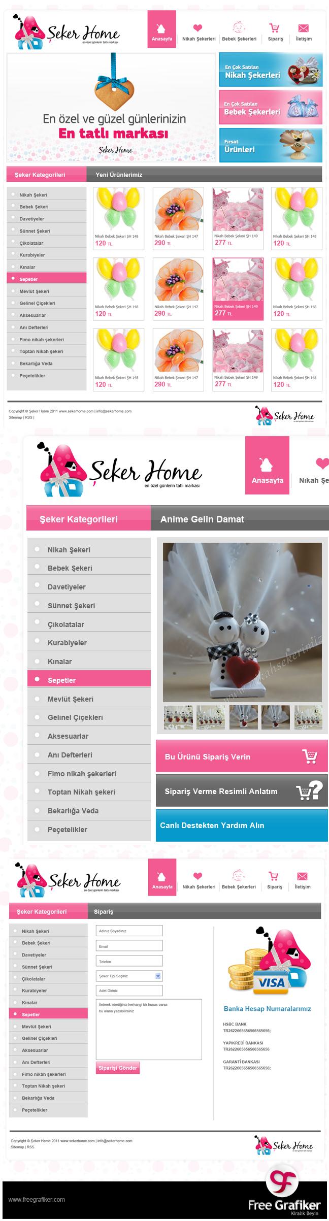 Şeker Home e ticaret sitesi tasarımı