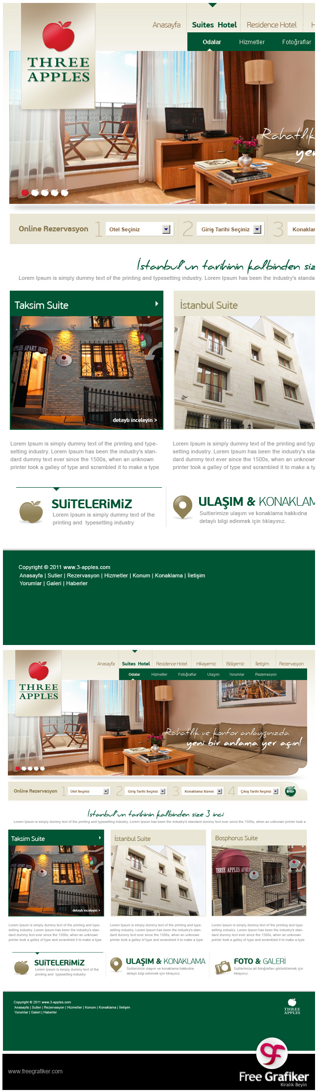 Three Apple Hotel Sitesi Web Tasarımı