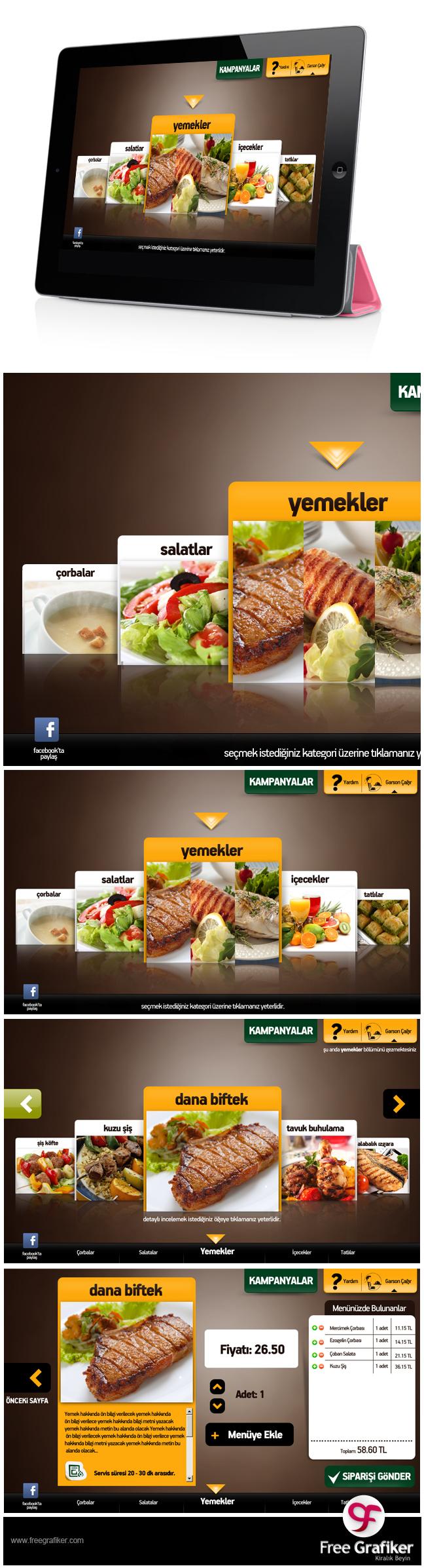 Ipad Yemek Menüsü Tasarımı