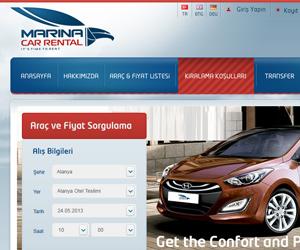Marina Car Rental Araç Kiralama Sitesi Arayüz Tasarımı