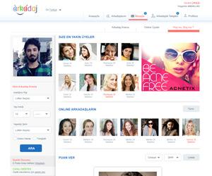 Arakadaj.com Arkadaşlık Sitesi WEb Arayüz Tasarımı